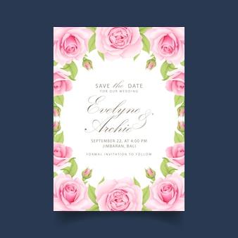 핑크 장미와 함께 꽃 결혼 초대장