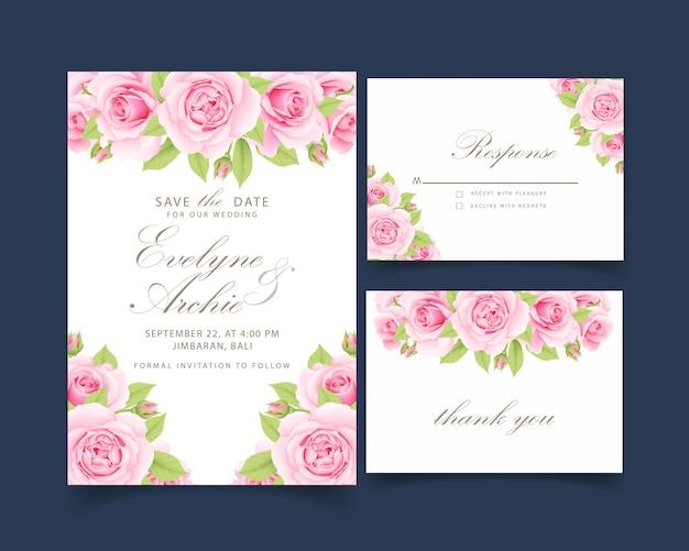 Свадебное приглашение с розовой розой