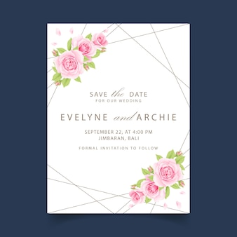 Floral wedding invitation with pink rose