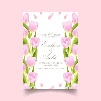 Floral wedding invitation with pink tulip flower