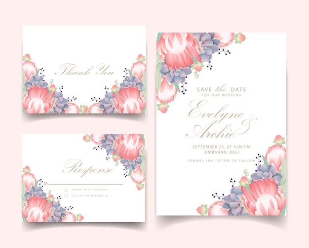 티아 꽃과 즙이 많은 꽃 결혼 초대장