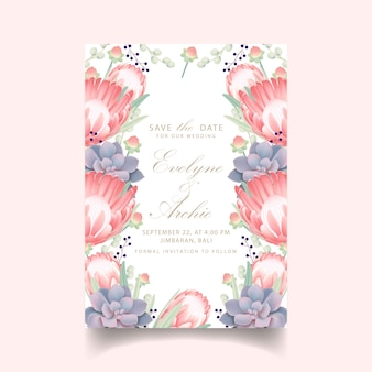 Свадебное приглашение с цветком протеи и суккулентом