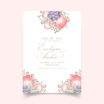 Floral wedding invitation with protea flower and succulent