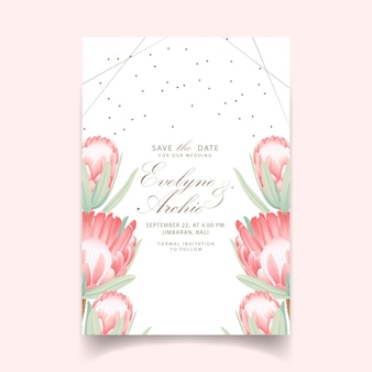 Floral wedding invitation with protea flower