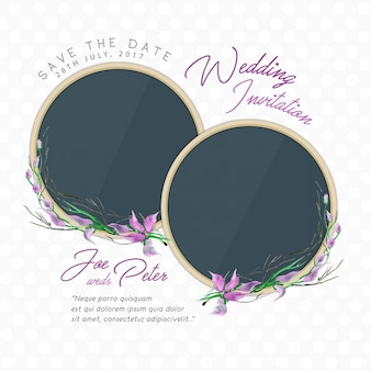 Floral wedding invitation with quote