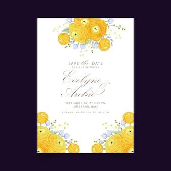 Приглашение на свадьбу с цветами