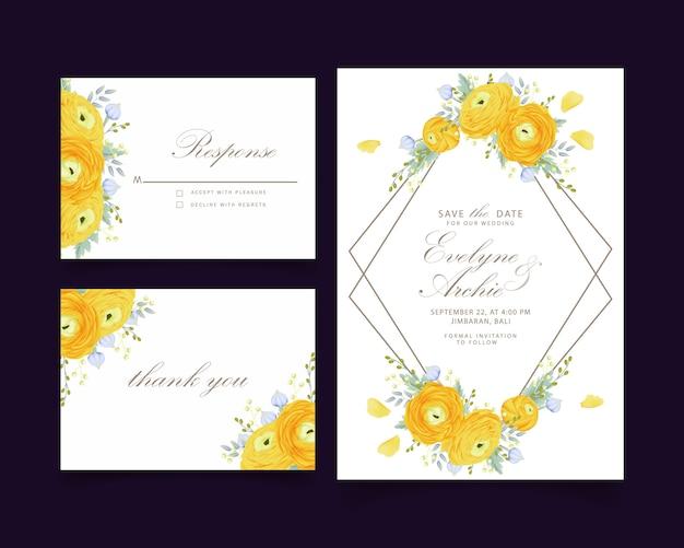 Floral wedding invitation with ranunculus flower
