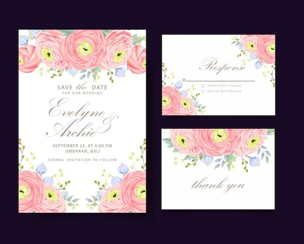 미나리 아재 비 꽃과 꽃 결혼 초대장