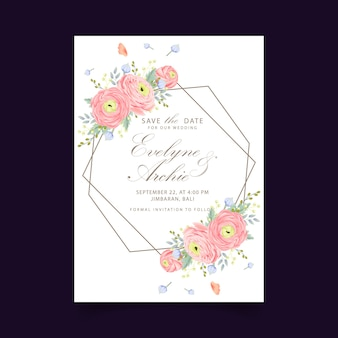 Floral wedding invitation with ranunculus flower