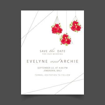 테라 리 움에 빨간 장미와 함께 꽃 결혼 초대장