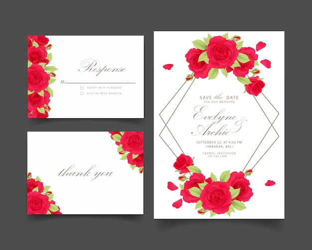 Floral wedding invitation with red rose