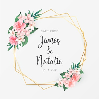 Floral wedding invitation with roses