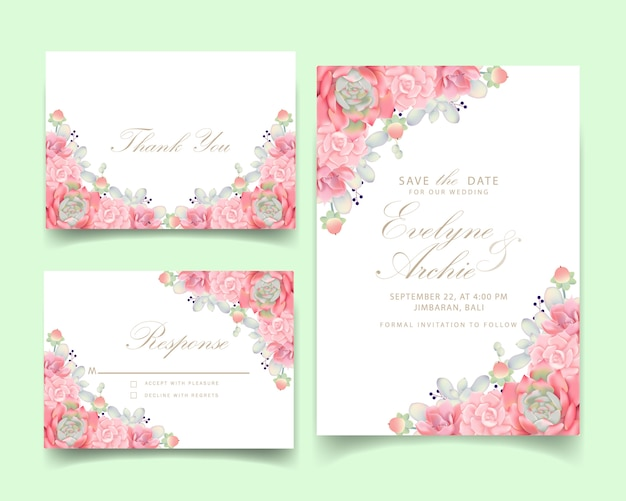 Floral wedding invitation with succulent
