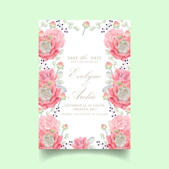 Цветочное свадебное приглашение с сочными