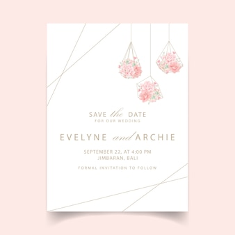 Floral wedding invitation with succulents in terrarium