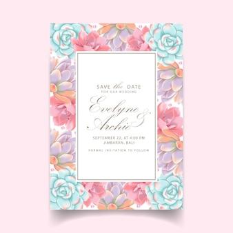 Цветочное свадебное приглашение с суккулентами
