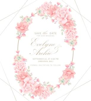 Succulents와 꽃 결혼 초대장