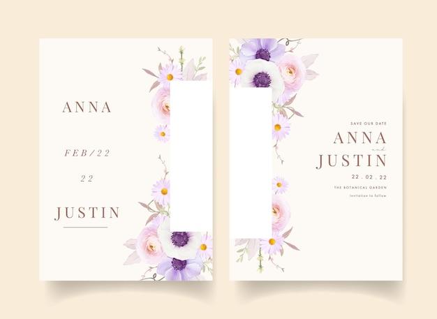 水彩アネモネの花と花の結婚式の招待状