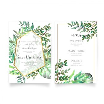 Floral wedding invitation with watercolor leaves