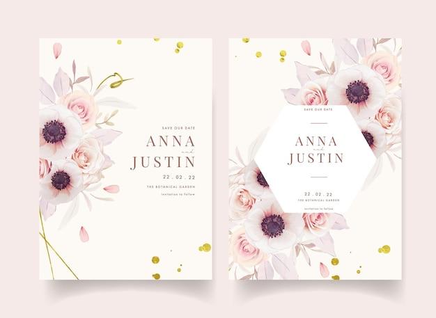 水彩ピンクのバラとアネモネの花と花の結婚式の招待状