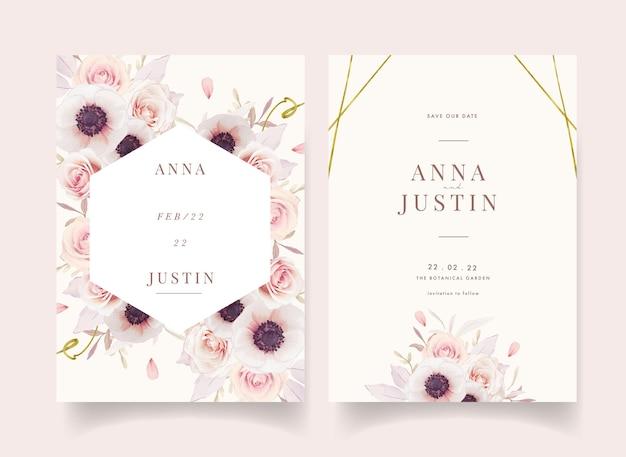 Цветочное свадебное приглашение с акварельными розовыми розами и цветком анемонов