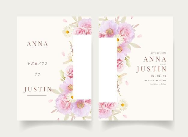 Цветочное свадебное приглашение с акварельными розами и цветком анемонов