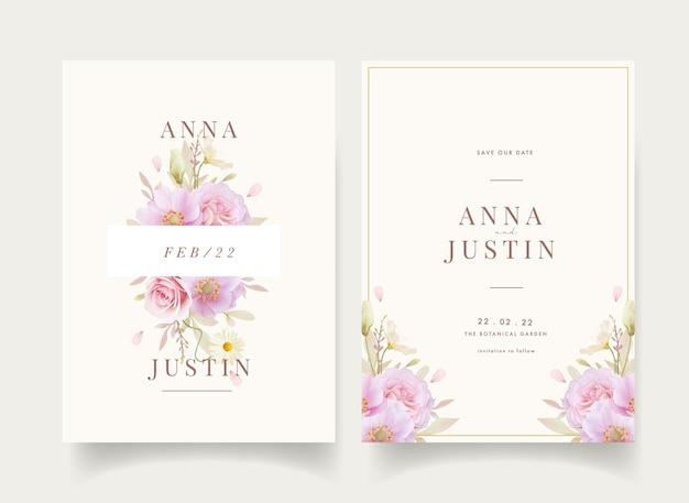 Invito a nozze floreale con fiori di rose e anemoni dell'acquerello