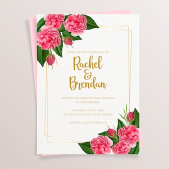 Floral wedding invitation with watercolor roses