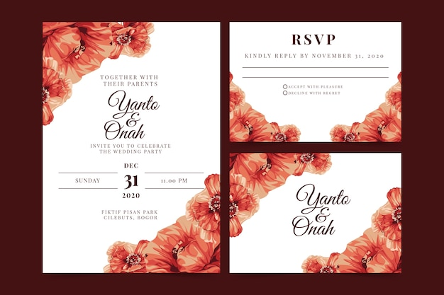 Floral wedding invitation with white background