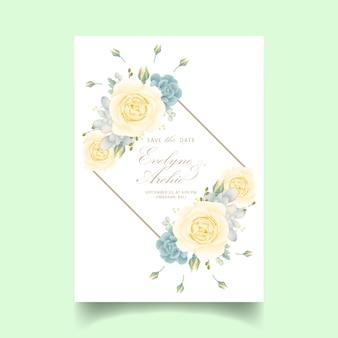 Цветочное свадебное приглашение с белой розой и сочными
