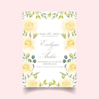 흰 장미와 꽃 결혼 초대장