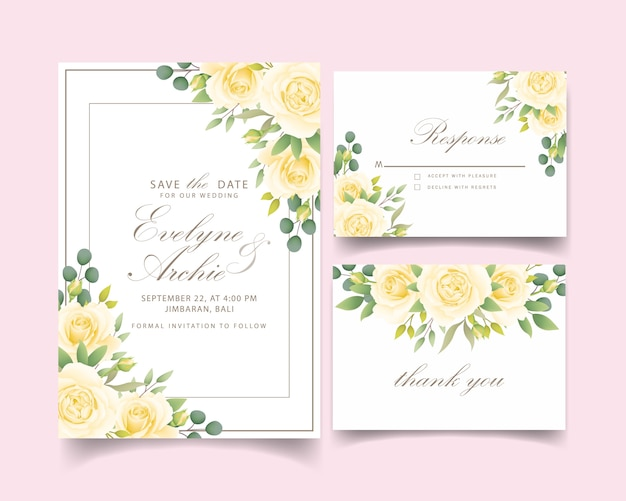 Floral wedding invitation with white rose