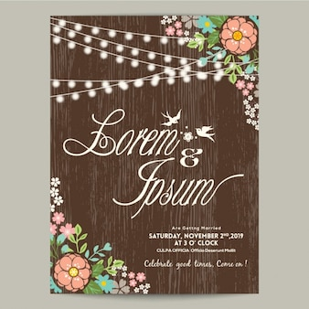 Floral wedding invitation with wood texture