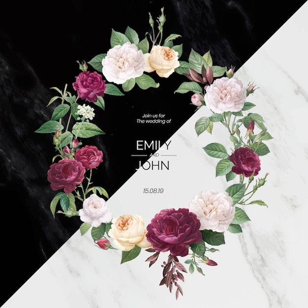 Floral wedding invitation