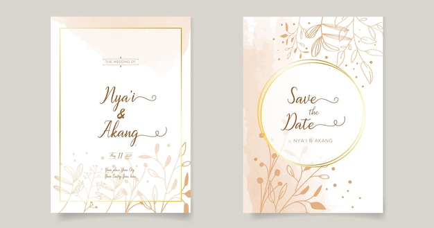 Floral wedding invitations card template