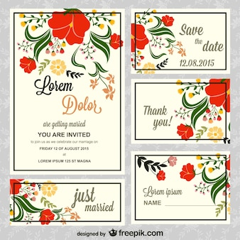 Floral wedding invitations pack