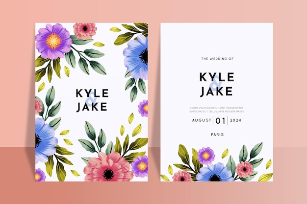 Floral wedding invitations template