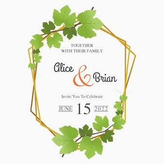 ぶどうの葉の装飾と花の結婚式の招待状