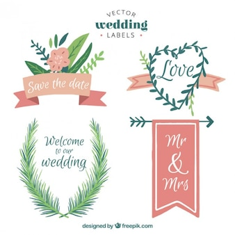 Floral wedding label collection