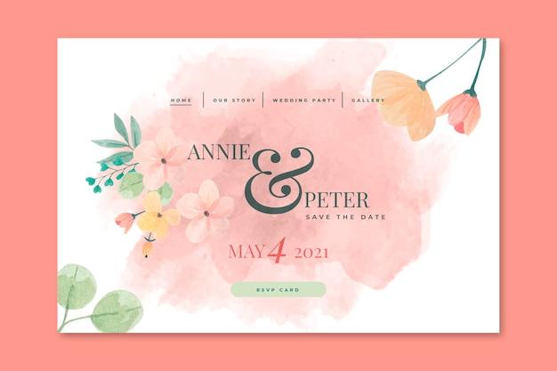 Concetto di pagina di destinazione del matrimonio floreale