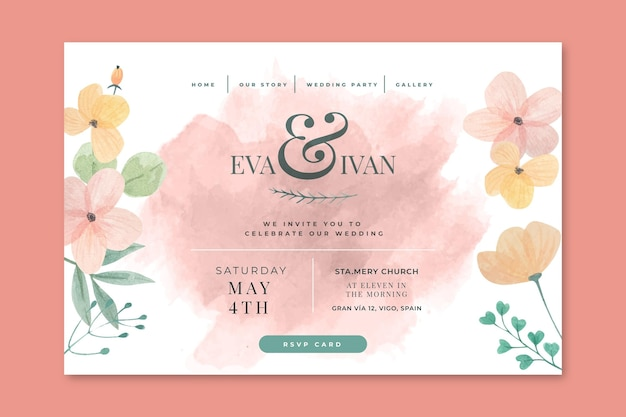 Floral wedding landing page concept
