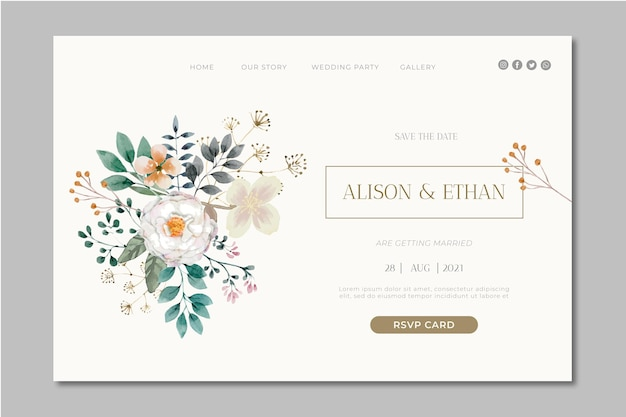 Floral wedding landing page design
