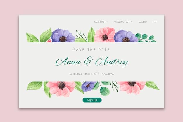 Design floreale della pagina di destinazione del matrimonio