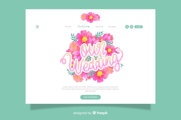 Floral wedding landing page template