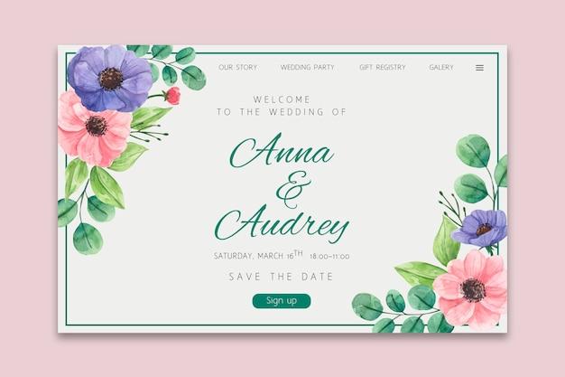 Floral wedding landing page
