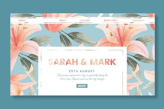 花の結婚式のランディングページ Premiumベクター