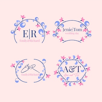 Floral wedding logos template