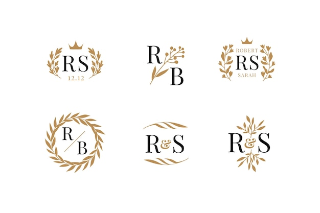Floral wedding logos