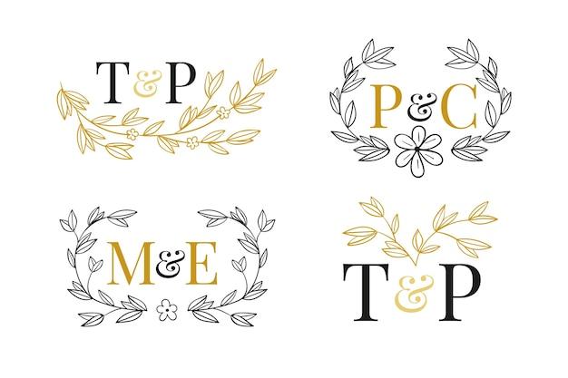 花の結婚式のロゴ