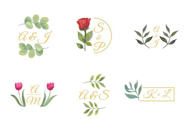 Цветочные свадебные логотипы